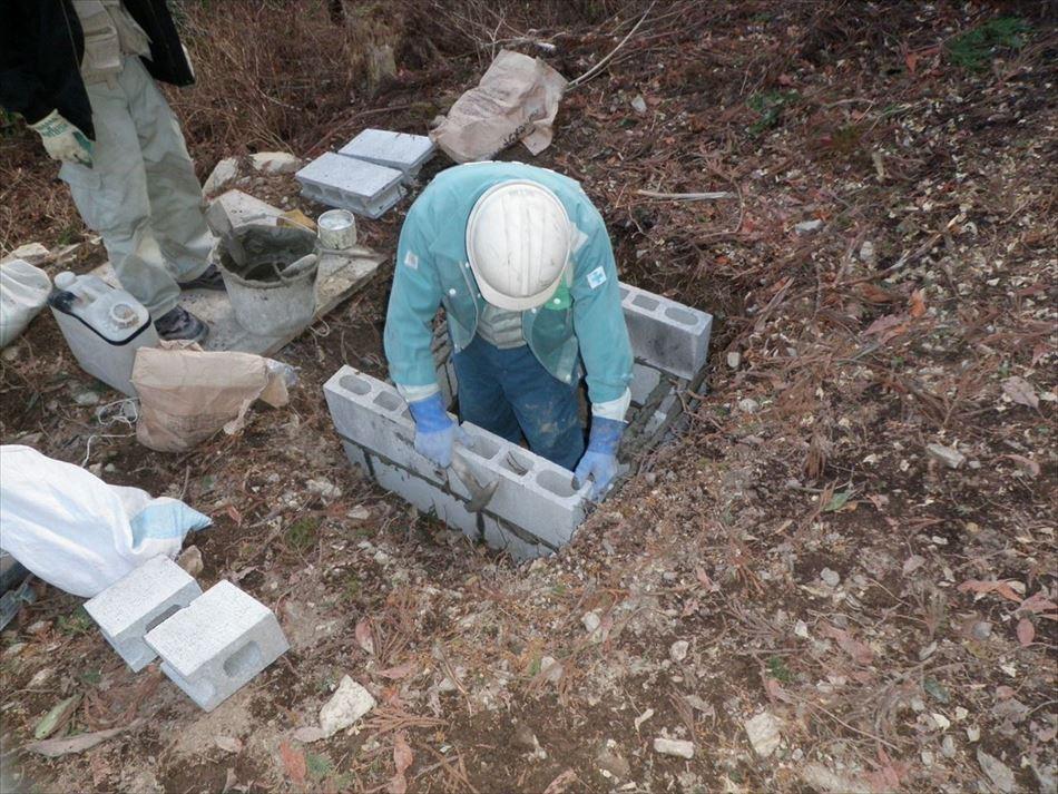 蓮ダム工事 ブロックの組立