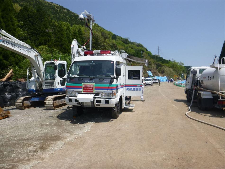 熊本震災における衛星通信車の活動状況