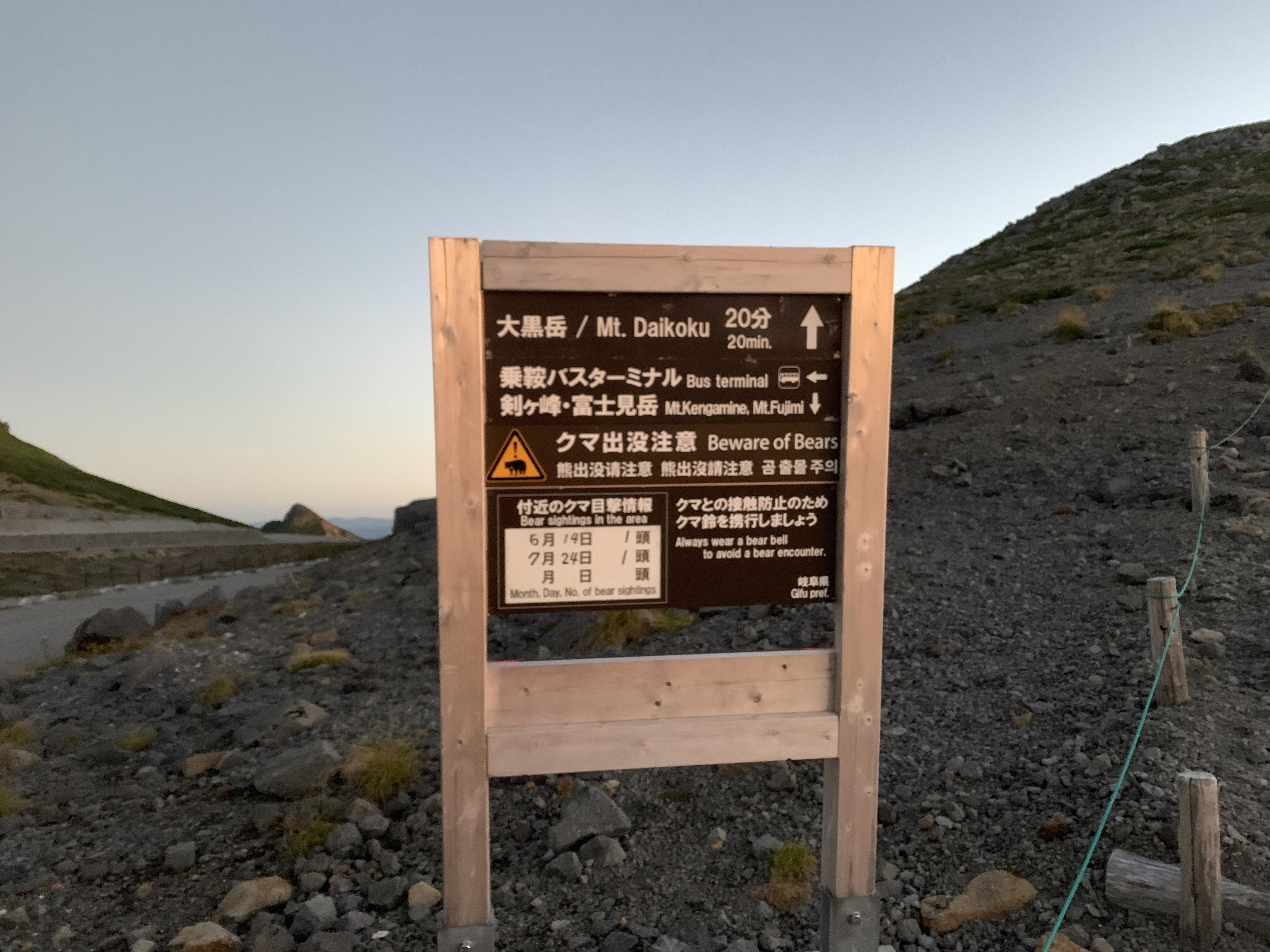 大黒岳看板