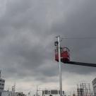 岐阜国道事務所管内における25GHz無線LAN設置後のアンテナ調整作業