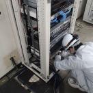 静岡河川事務所に放送装置設置に伴う配線等施工状況